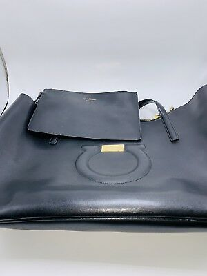 a515c1e079a8 PRE-OWNED AUTHENTIC SALVATORE FERRAGAMO extra large FEED BAG purse ...