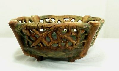 """Vintage Weller Arts & Crafts Pottery Woodcraft Reticulated  Bowl 8"""" x 8"""""""