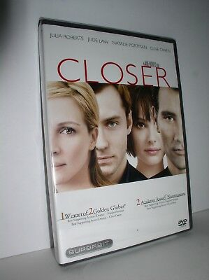 Closer starring Julia Roberts, Jude Law, Natalie Portman (DVD,2005,Superbit,NEW)