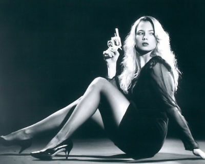 GLOSSY PHOTO PICTURE 8x10 Traci Lords Gun Black And White
