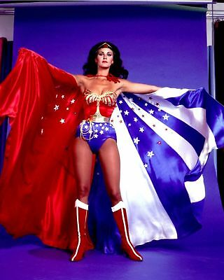 GLOSSY PHOTO PICTURE 8x10 Lynda Carter Flag