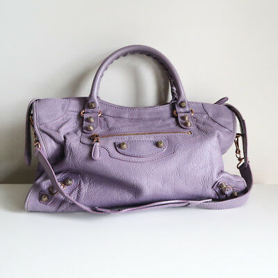 ad9f170433d 100% authentic BALENCIAGA city bag glycine mini giant rose gold purple  shoulder
