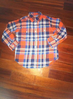 Toddler Boy Boys Button Down Shirt Long Sleeve Checkers Red Blue Cute Size 4t 4