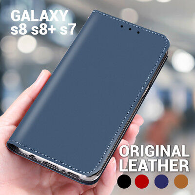 Genuine Leather Wallet Case Flip Card Cover For Samsung Galaxy S8 Plus S7