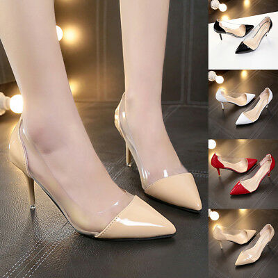 2019 Stylish Ladies Transparent Heels Pointed Toe Wedding Party Shoes Hot