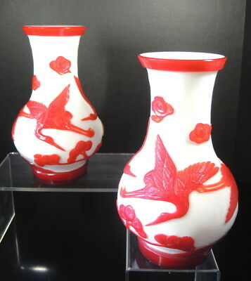 Pair of Antique Chinese Red High Relief Peking Glass Vases