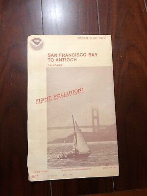 Vintage 1983 Nautical Chart Map 18652 San Francisco Bay To Antioch, California