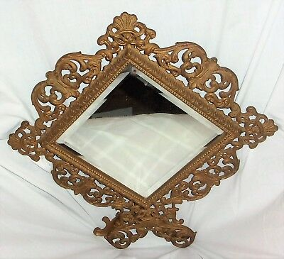 Ornate Victorian Cast Metal Iron Brass Framed Beveled Glass Mirror Diagonal with