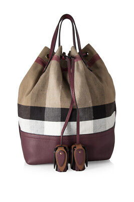 c08daf3be3e6 Pre-Owned Burberry Brit Grainy Canvas Check Tassel Medium Heston (Red   Leather)