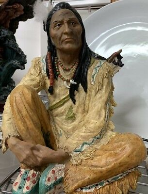 Native American Indian Sculpture  Hand Painted Polyresin  26cm in Height