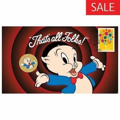 New Perth Mint Porky Pig 2018 Stamp and Coin Cover