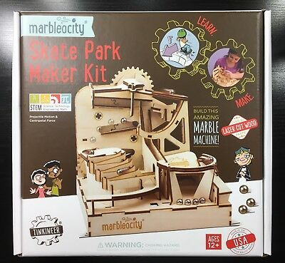 PlayMonster Marbleocity Skate Park Building Marble Run Wood Kit STEM Engineering