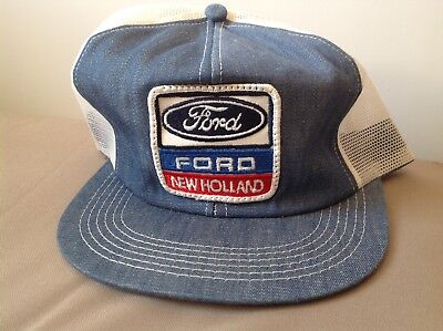 ace70590b VINTAGE FORD NEW Holland Patch Mesh Snapback USA Tractor Farmer Trucker Hat  Cap