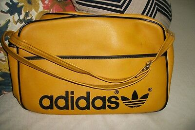 9806c7007678 Vintage 70s   80s ADIDAS Yellow Gold LEATHER TREFOIL Gym Small Duffle Bag  RARE