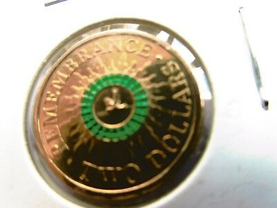 2014 $2 two dollar REMEMBRANCE DAY green ring COLOUR COIN RAM UNC WW1 WAR