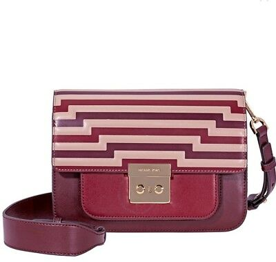 e7acd288f988 NWT Michael Kors Sloan Editor Tri-Color Leather Shoulder Bag- Oxblood  328