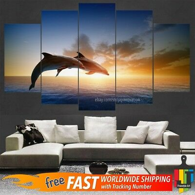 5 Pcs Home Decor Canvas Print Painting Sunset Seascape Wall Art Jumping Dolphins