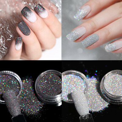 2Boxes 2G Nail Art Holographic Laser Glitter Powder Dust Gray Holo Shining Tips