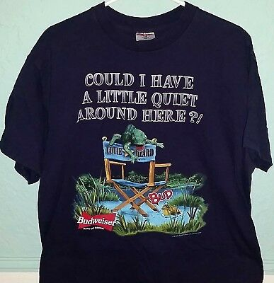 42db854d 1999 Vintage Budweiser Bud Frogs Beer Funny Commercial T-Shirt-XL-Tee Jays