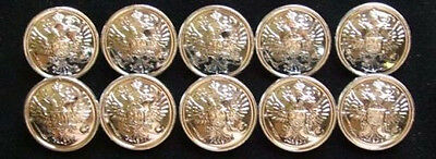 10 Big Russian Official Uniform Buttons Imperial Double-Headed Eagle Silver Rim