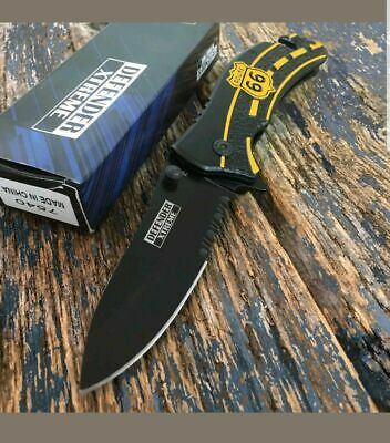 "8"" DEFENDER XTREME Tactical Spring Assisted Open Pocket Knife STAINLESS STEEL"