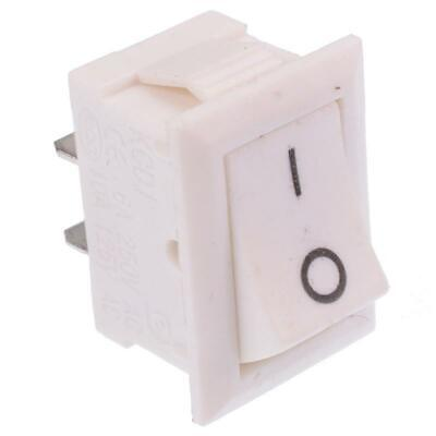 White On-Off Rectangle Rocker Switch SPST 6A