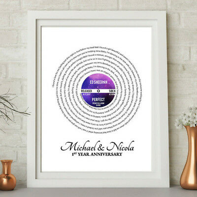 Personalised Song Lyrics LP Vinyl Record Word Art Print Father's Day Gift