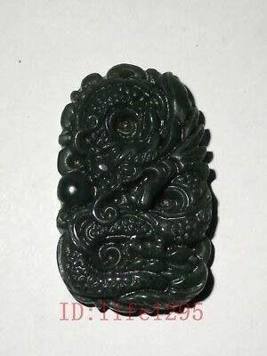 China Old Natural Green Jade Hand Carved Force Dragon Pendant Amulet Decoration