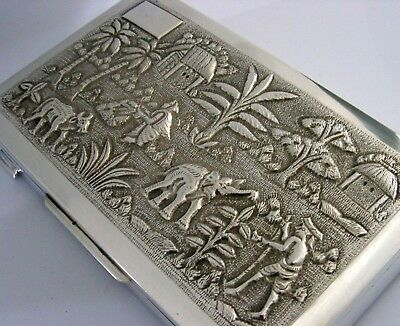 SUPER QUALITY ANGLO INDIAN STERLING SILVER CIGARETTE CIGAR BOX c1920-1940