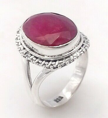 Ruby Corendum Gemstone Ring Solid 925 Sterling Silver Jewelry Gift - All SIZES