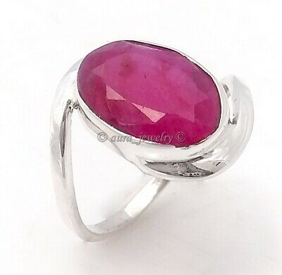 Ruby Corundum Gemstone Ring 925 Sterling Solid Silver Jewelry  - All SIZES