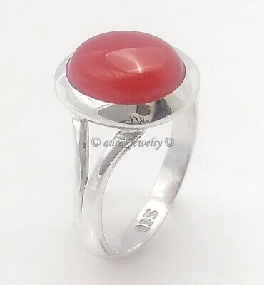 925 Sterling Solid Silver Red Onyx Gemstone Jewelry Traditional Ring - All SIZES