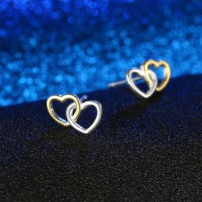 88106aa44 Gold Entwined Stud Earrings Double Hearts Two Tone Genuine Sterling Silver  925