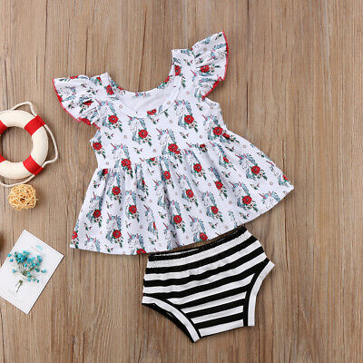 8310f745ad05 Newborn Infant Summer Baby Girl Floral Shirt Dress Short Pants Clothes  Outfit