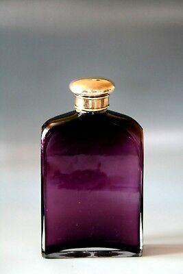 Very Good Silver Topped Aubergine Glass Flask