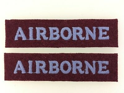 PAIR of Britain/British Army WWII 'Airborne' cloth shoulder titles paratrooper