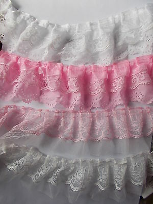 Double or Triple Layered  Pleat Gathered Lace - choose Pink or Winter White