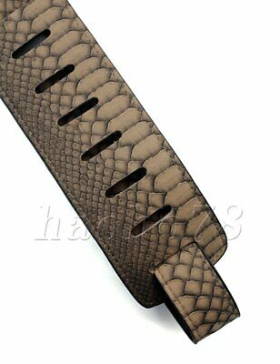 PU Leather Snake Skin Style Strap Embossed Electric Acoustic Gray Guitar Bass