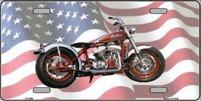 Indian Motorcycle American Flag Background Metal Novelty License Plate Tag