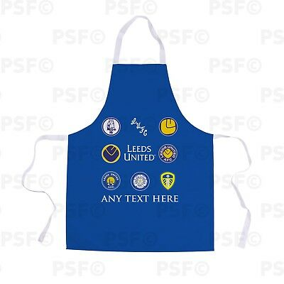 Leeds United FC Official Personalised Retro Badges Blue Showerproof Apron LA009