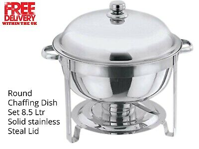 Round 8.5 Litre Chafing Dish with Solid/BUFFET DISH/PARTY FOOD WARMER STEEL LID