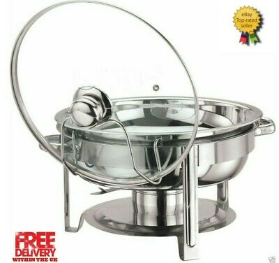 Round 4.5 Litre Chafing Dish with Solid/BUFFET DISH/PARTY FOOD WARMER GLASS LID