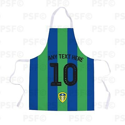 Leeds United FC Official Personalised Blue Green Name Number Unisex Apron LA013
