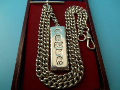 SOLID SILVER DOUBLE ALBERT / NECK CHAIN 18ins & INGOT FOB 65gm