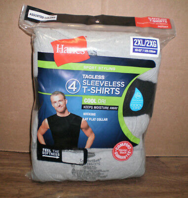 New Men's Hanes 4 pack Tagless Sleeveless Cool Dri Muscle Assorted T-Shirts 2XL