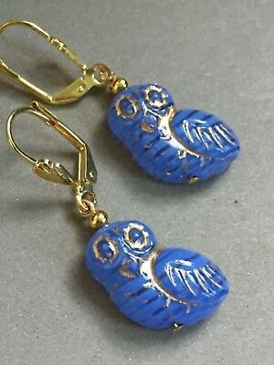 Art Deco style baby owl Czech blue glass earrings
