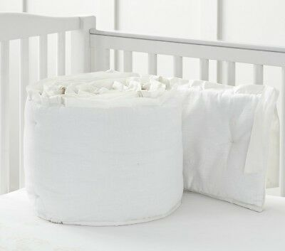 Pottery Barn Kid Monique Lhuillier SATEEN APPLIQUE Crib Bumper NWT
