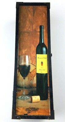 Vintage Wooden Wine Bottle Box with Buckle- Rustic Wine Bottle Display/Carrier