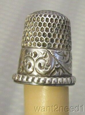 antique Simons STERLING SILVER THIMBLE 5 small child deep carved paisley band