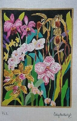 Orchids Needlepoint Canvas Multi-color Floral Painted 13 Count FL2